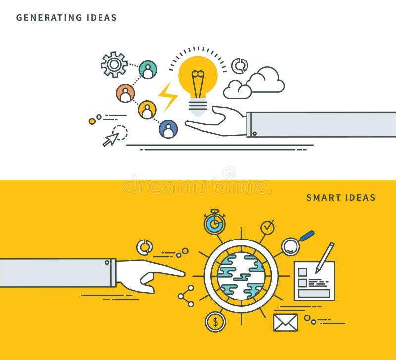 Simple line flat design of generate ideas & smart idea, modern vector illustration. stock illustration