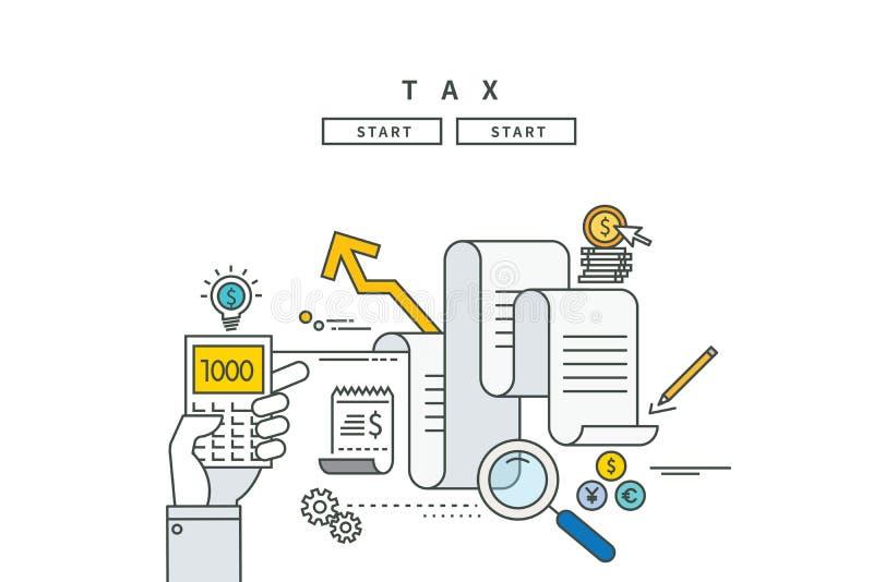 Simple line flat design of tax, modern illustration stock illustration