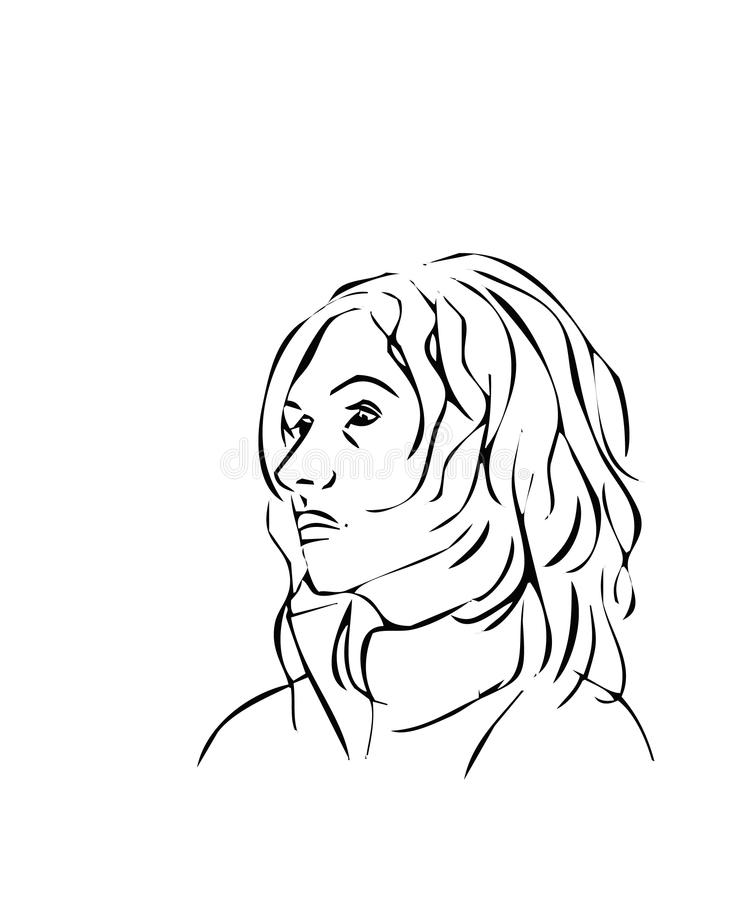 Line Drawing Of Face Profile : Simple line illustrations of a woman face profile stock