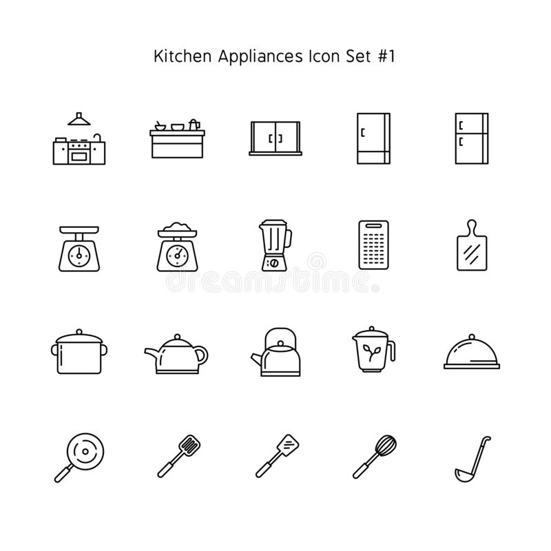 Simple line kitchen appliances icon set. household illustration collection royalty free illustration
