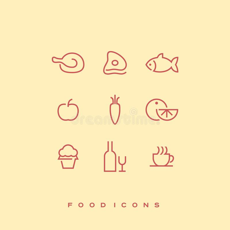 Simple line vector food icon set. Chicken, beef, fish, apple, carrot, orange, cupcake, bottle of wine and wine glass royalty free illustration
