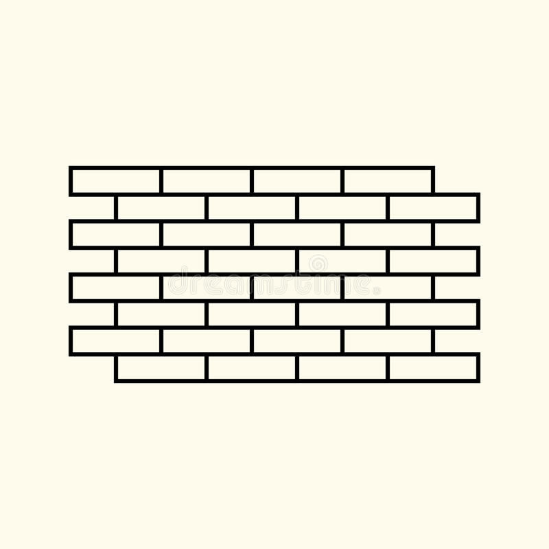 Simple linear illustration of a brick wall, isolated bricks, flat line icon.  vector illustration