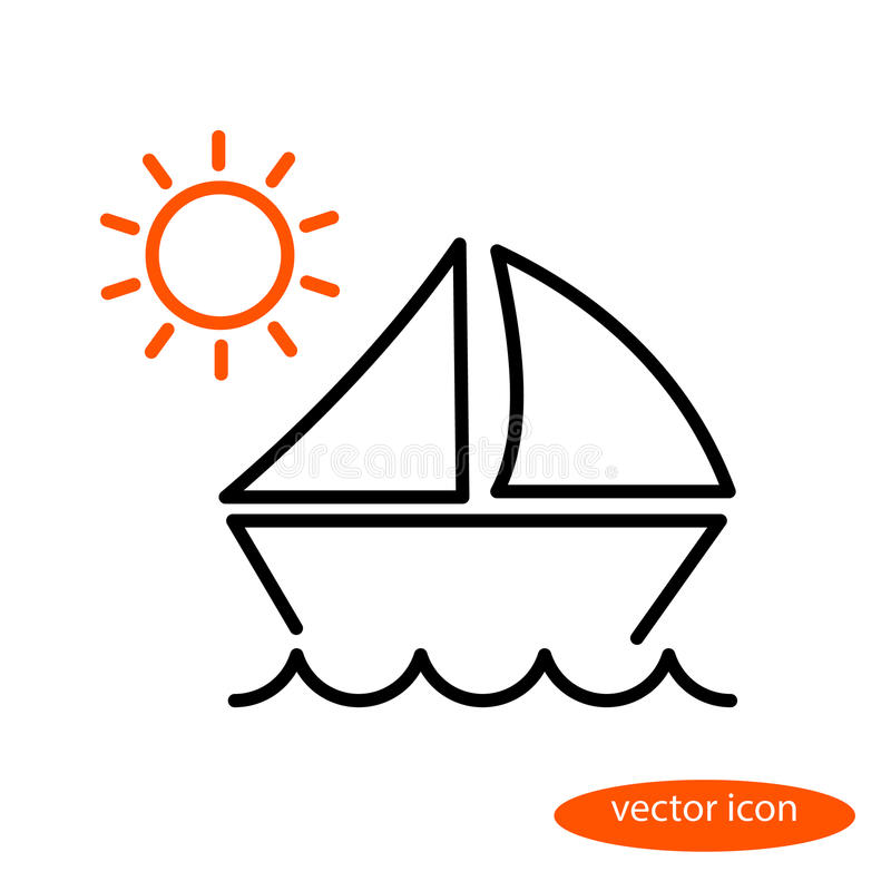 A simple linear illustration of a landscape with a sailing vessel floating on the waves and orange sun, a flat line icon.  vector illustration