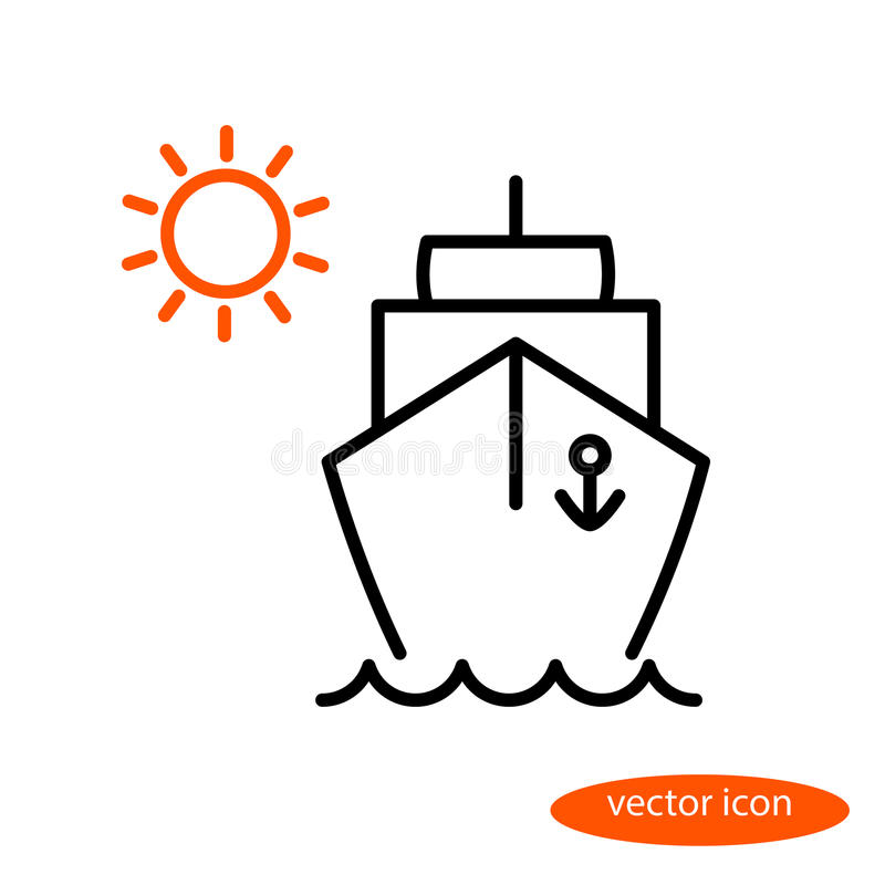Simple linear image of a ship floating on the waves and orange sun, a flat line icon for a travel agency.  vector illustration