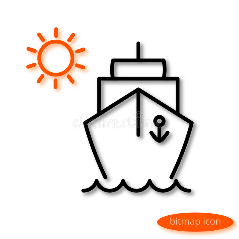 Simple linear image of a ship floating on the waves and orange sun, a flat line icon for a travel agency.  stock illustration