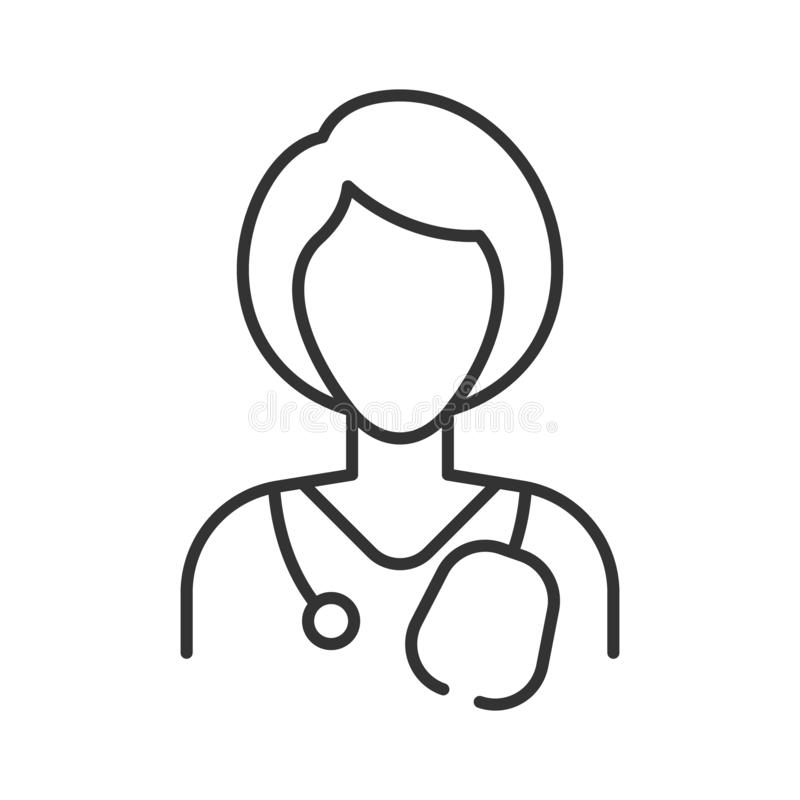 Simple linear medic icon on a white background. Doctor woman with short hair. Gray lines. stock illustration