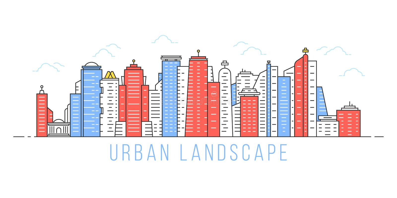 Simple linear urban landscape royalty free illustration