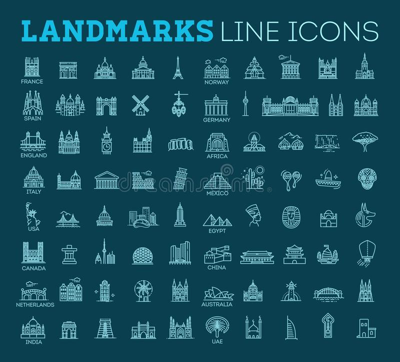 Simple linear vector icon set representing global tourist landmarks and travel destinations for vacations vector illustration