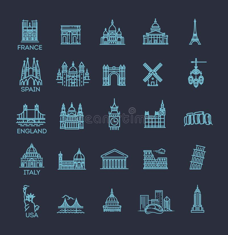 Simple linear Vector icon set representing global tourist landmarks and travel destinations for vacations royalty free illustration