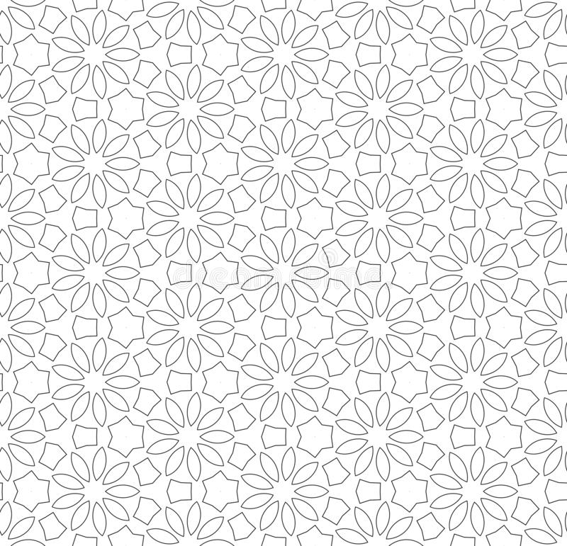 Simple lines, seamless kaleidoscope style abstract black & white B&W geometry pattern, isolated on white background. royalty free illustration
