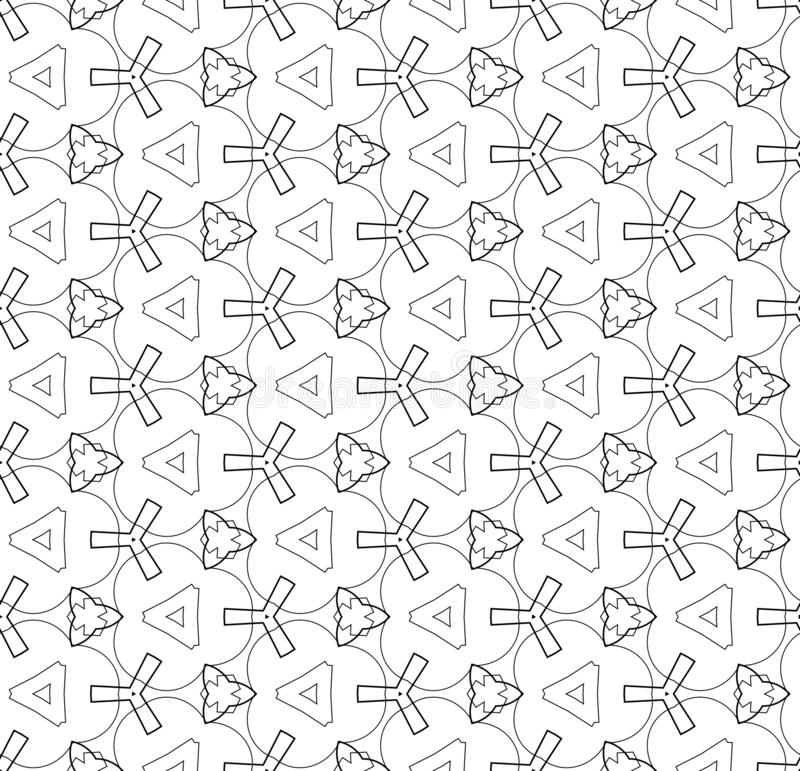 Simple lines, seamless kaleidoscope style abstract black & white B&W geometry pattern, isolated on white background. stock illustration