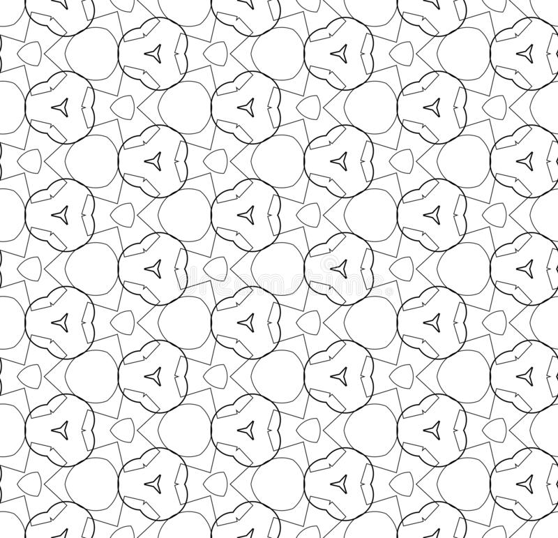 Simple lines, seamless kaleidoscope style abstract black & white B&W geometry pattern, isolated on white background. vector illustration