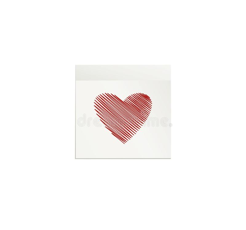 Simple lines in the shape of a heart red on a sticker for Valentine`s Day. Creative design concept. Vector illustration. Copy royalty free illustration