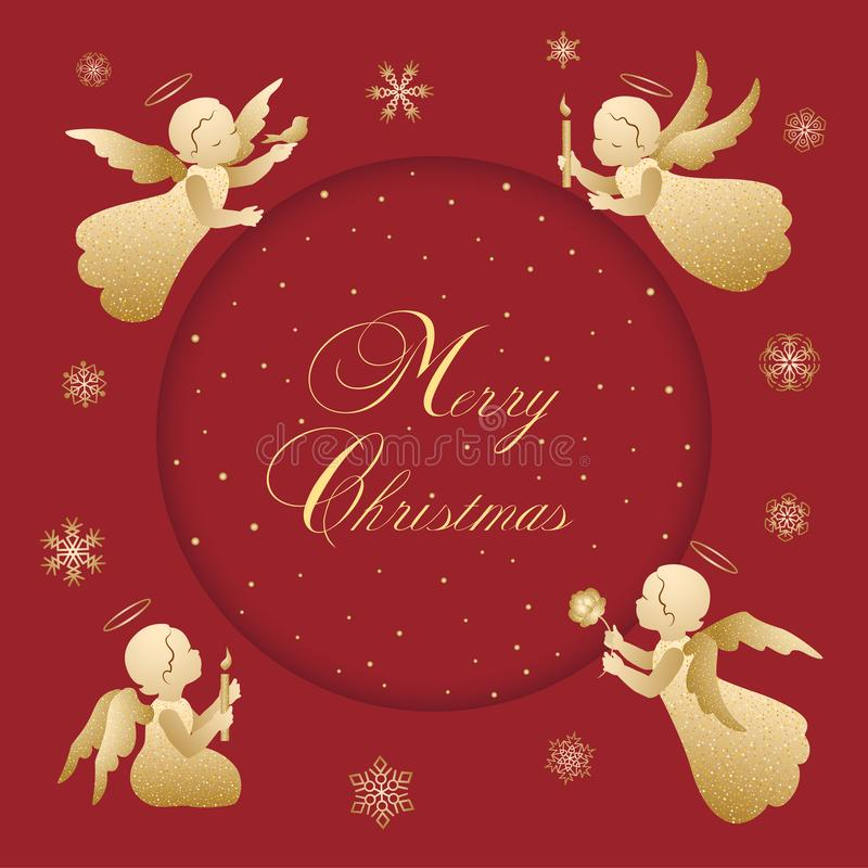 Red and gold Merry Christmas vintage card with angels royalty free illustration