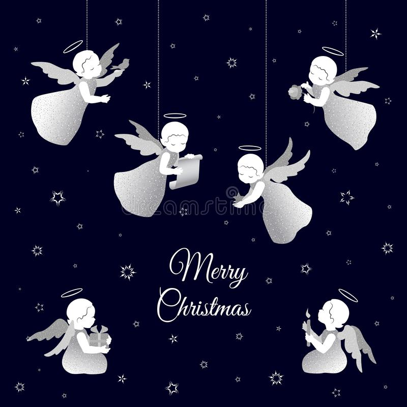 Merry Christmas vintage card with white angels and snowflakes. Simple little cute angels with shiny wings with a calligraphy font congratulations text Merry stock illustration