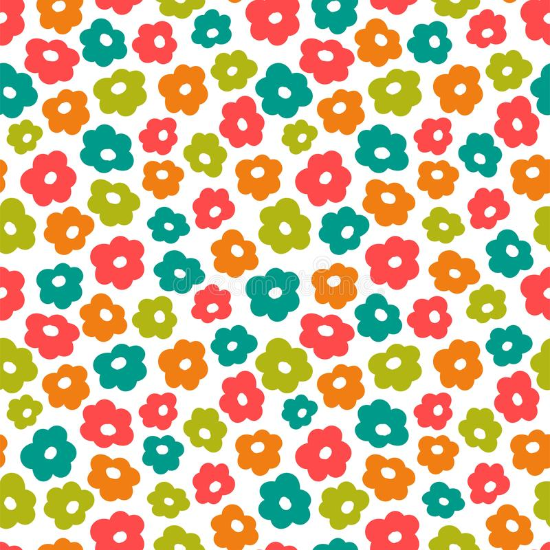 Simple little flower summer pattern, cute seamless background vector illustration