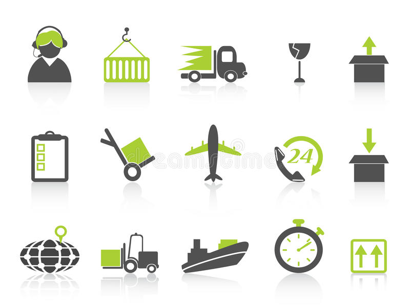 Simple logistics and shipping icons green series