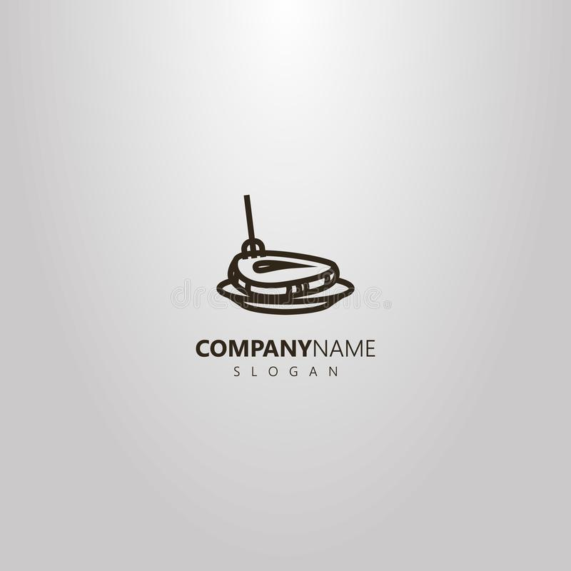 Simple logo vecteur de schéma de bifteck a martelé avec une fourchette d'un plat illustration stock