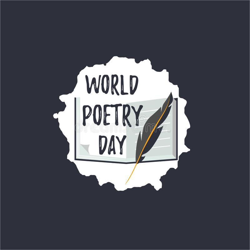 Simple logo for World Poetry Day. Icons of quill pen and book. With text royalty free illustration