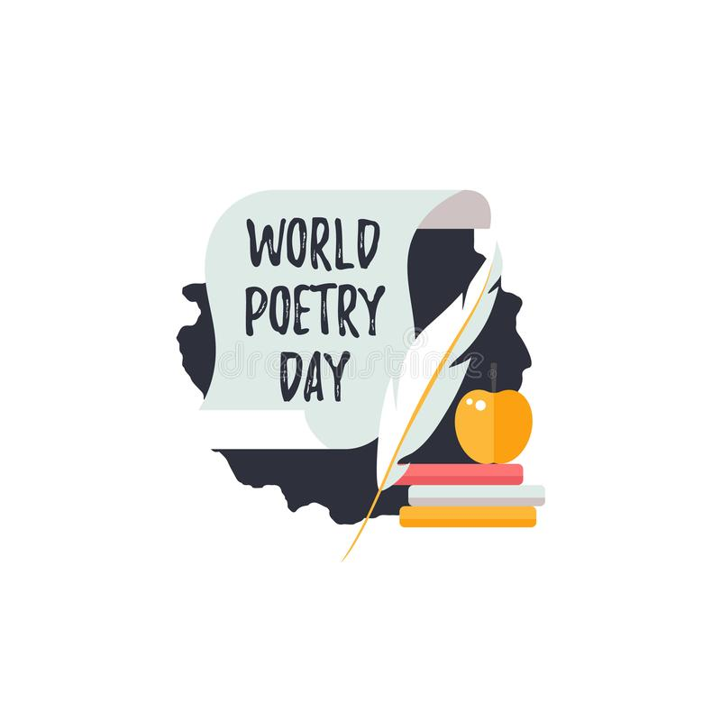 Simple logo for World Poetry Day. Icons of  scroll, quill pen and books. Simple logo for World Poetry Day. Icons of  scroll, quill pen and books with text vector illustration