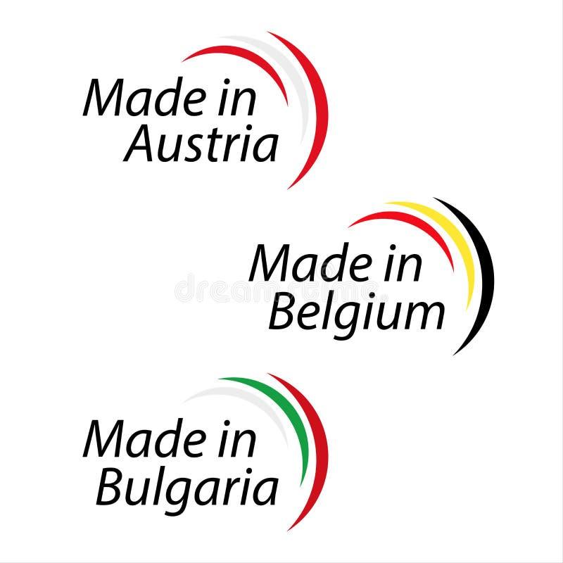 Simple logos Made in Austria, Made in Belgium, Made in Bulgaria royalty free illustration
