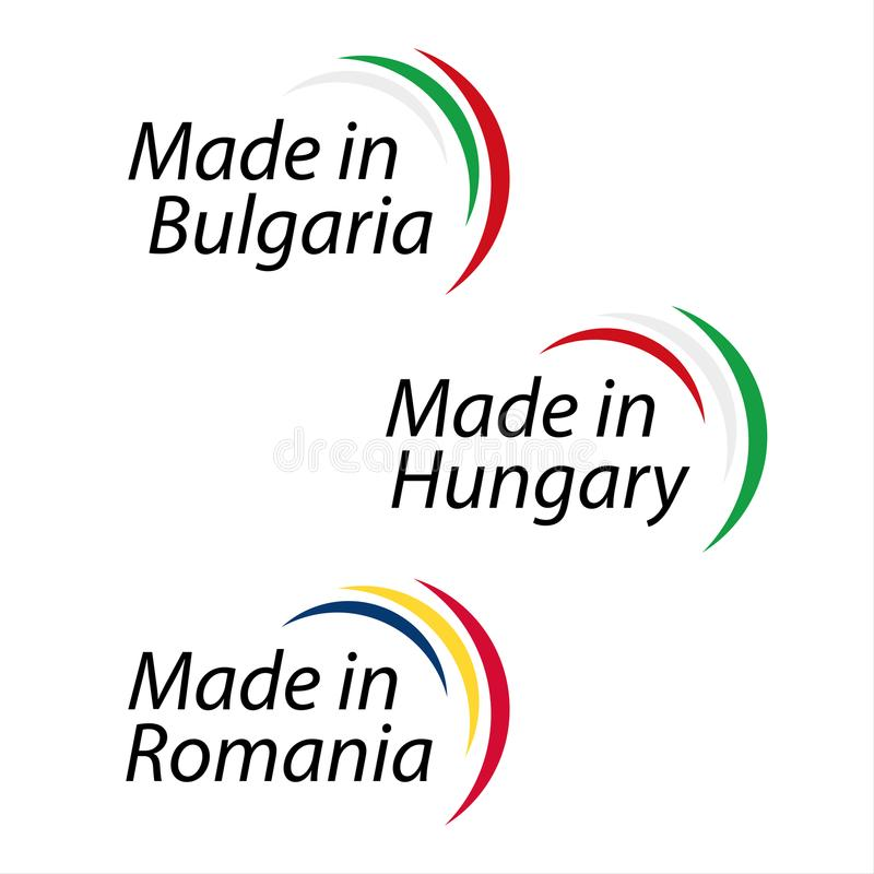 Simple logos Made in Bulgaria, Made in Hungary, Made in Romania. Vector logos with Bulgarian, Hungarian and Romanian colors vector illustration