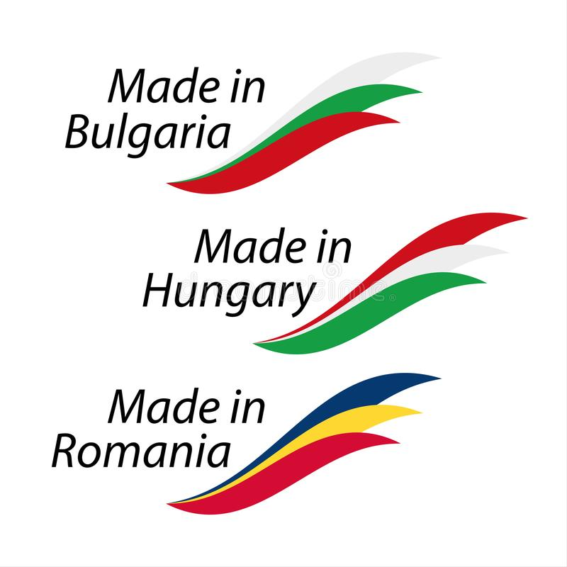 Simple logos Made in Bulgaria, Made in Hungary, Made in Romania. Vector logos with Bulgarian, Hungarian and Romanian flags vector illustration