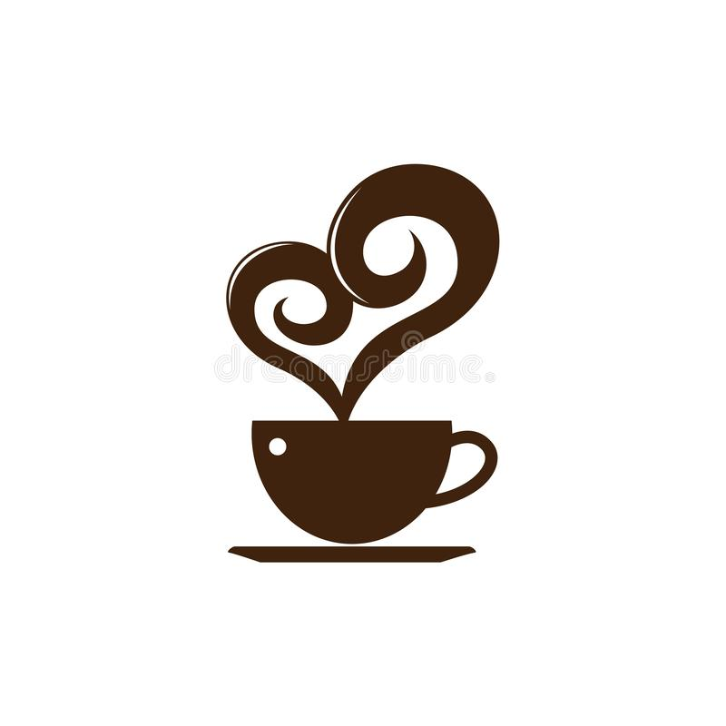 Simple Love Heart Coffee Chocolate Cafe Logo Template.  royalty free illustration