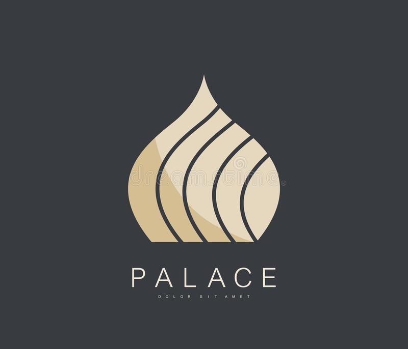 Simple Luxury Islamic Dome Palace Logo. Premium Vector Template Logotype Concept Icon in Arabic Style. Building Emblem. vector illustration