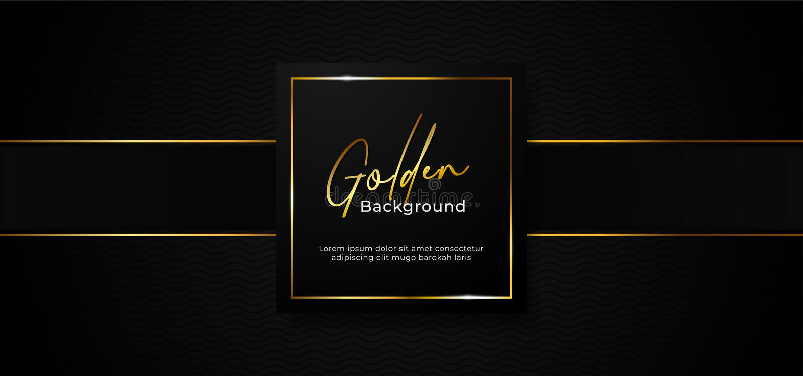Simple luxury professional paper box badge with sparkling golden square frame on wave pattern dark black background with gold stock illustration