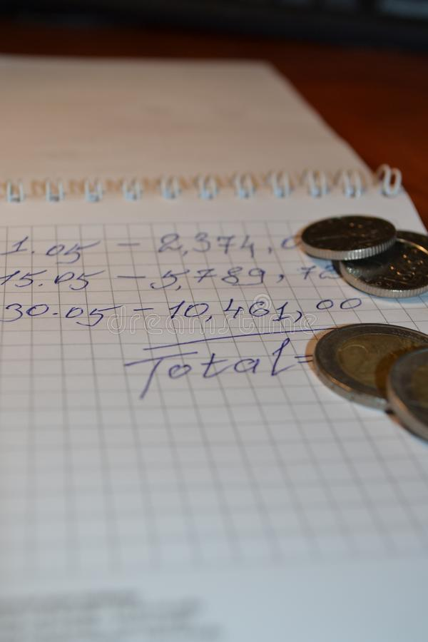 Magic of Digits. Written Ones and Money. The simple macro shooting of the calculations and money of different countries. Ideal for website backgrounds stock photos