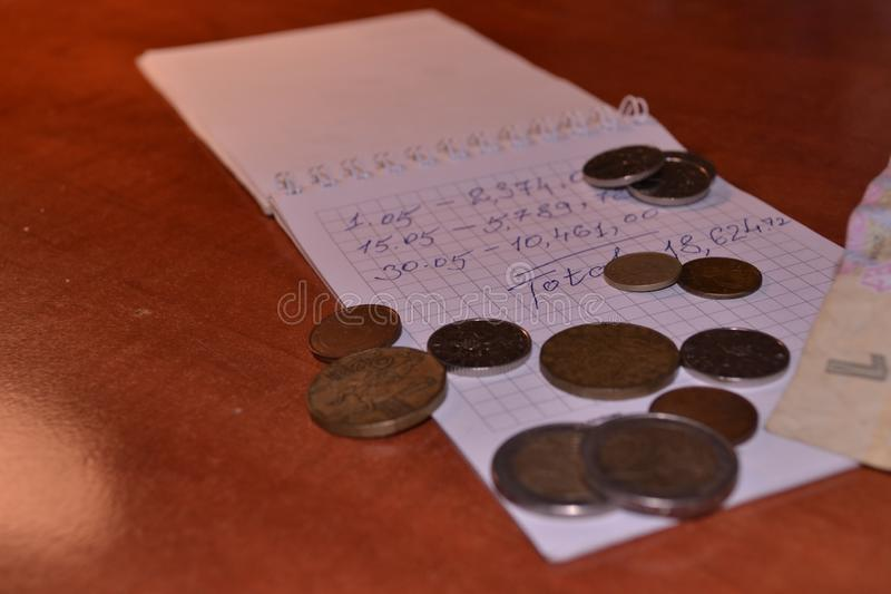 Magic of Digits. Written Ones and Money. The simple macro shooting of the calculations and money of different countries. Ideal for website backgrounds stock photography
