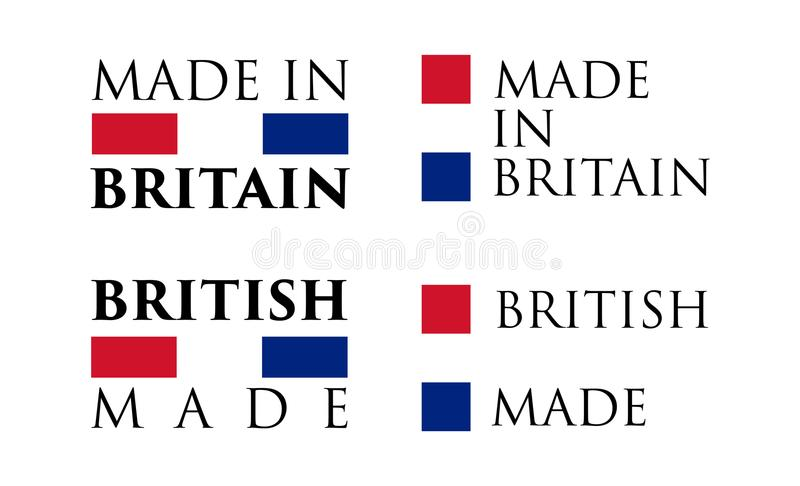 Simple Made in Britain / British label. Text with national color vector illustration