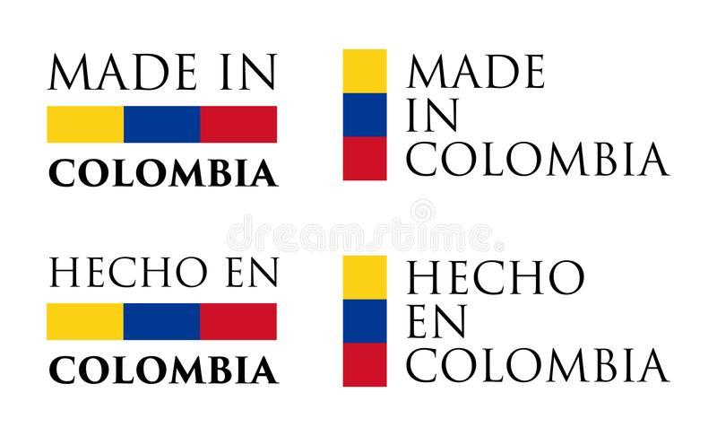 Simple Made in Colombia / Hecho en spanish translation label. royalty free illustration