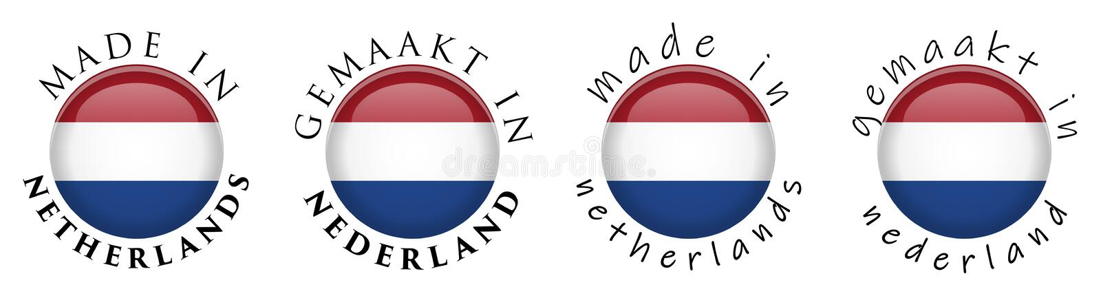 Simple Made in Netherlands / Gemaakt in Nederland Dutch translation 3D button sign. Text around circle with naitional flag. Dece stock illustration