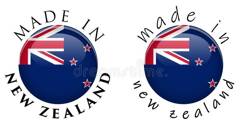 Simple Made in New Zealand 3D button sign. Text around circle wi stock illustration