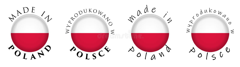 Simple Made in Poland / Wyprodukowano w Polsce Polish translati vector illustration