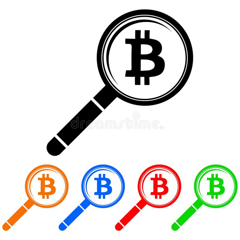 Simple, magnifying glass looking at a bitcoin logo icon stock illustration
