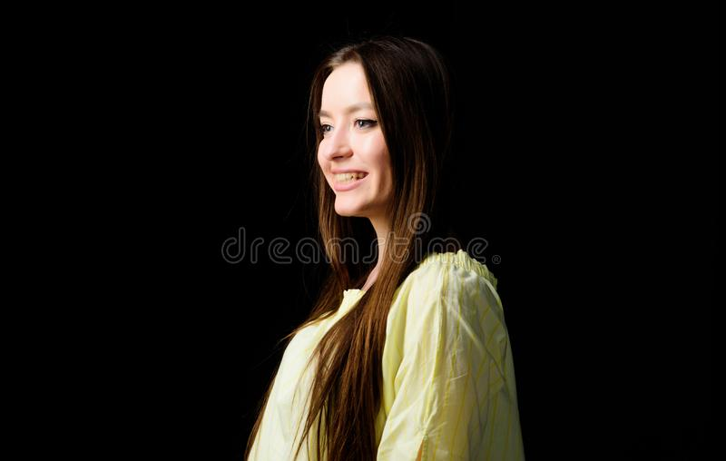 Daily simple makeup. Portrait of attractive woman long hair. Natural beauty. Glowing with natural beauty. Pretty girl stock photo