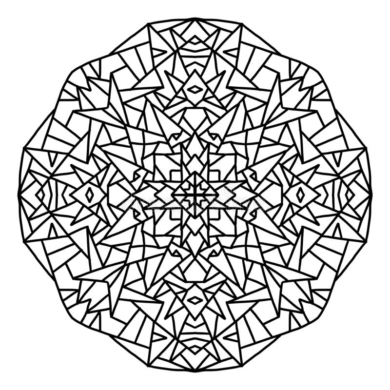 simple geometrical and closed mandala to color, black in white background royalty free stock images