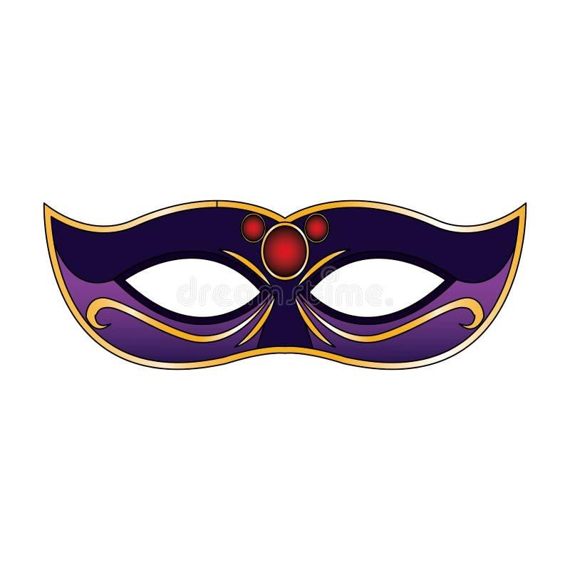 Simple Mardi gras mask icon, colorful flat design royalty free illustration