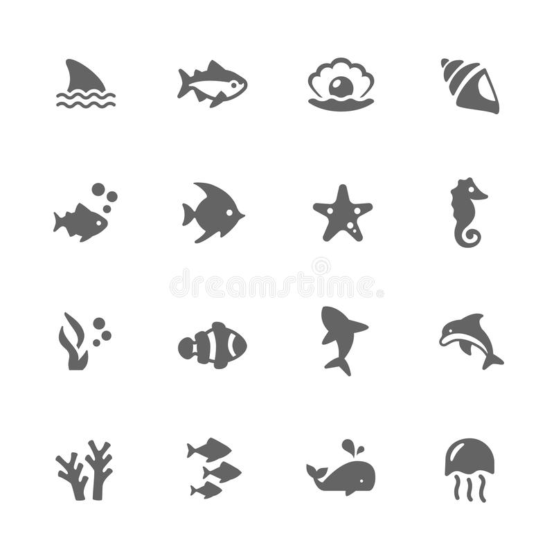 Simple Marine Life Icons vector illustration