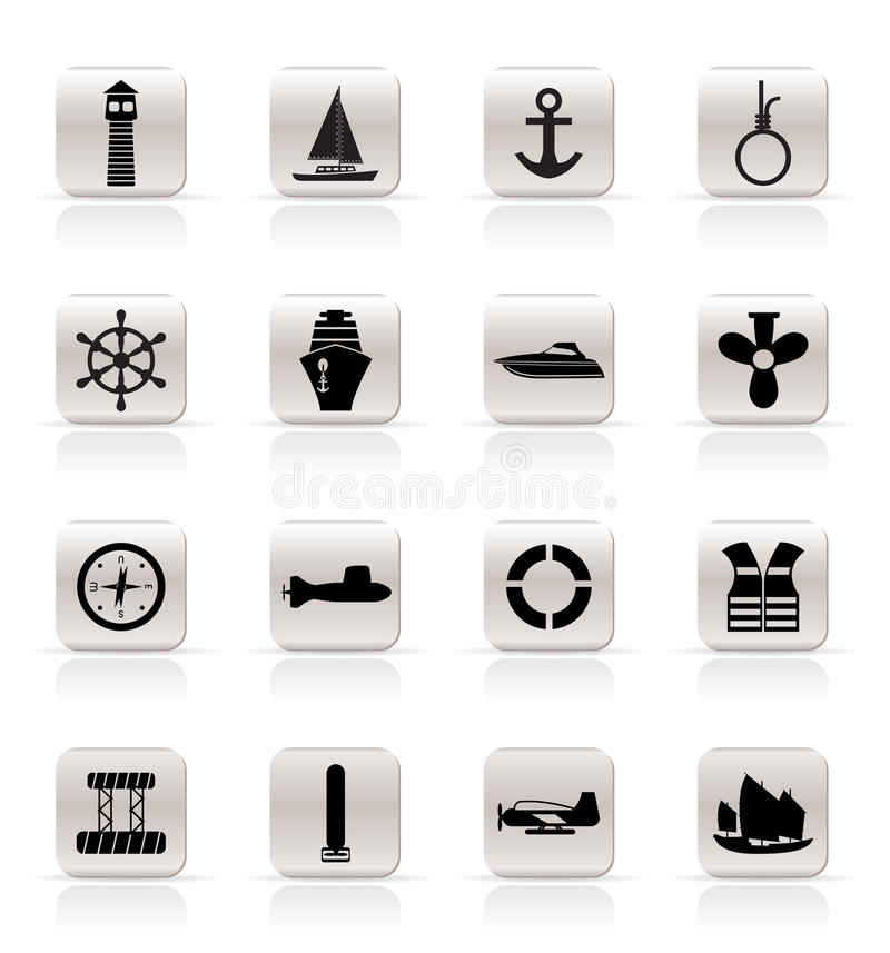 Download Simple Marine, Sailing And Sea Icons Stock Vector - Image: 10882447