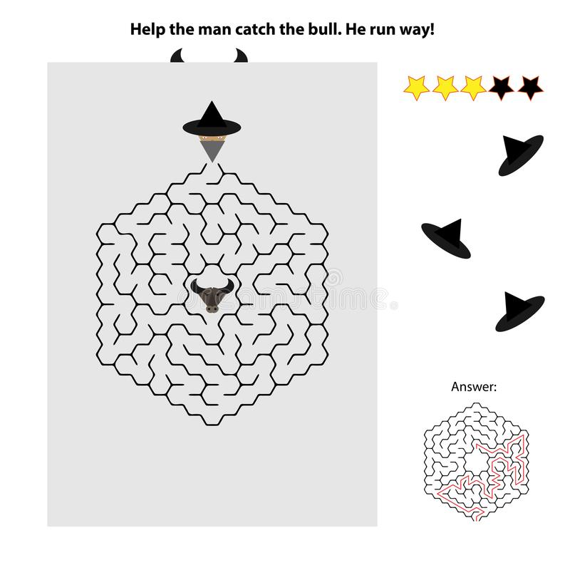 Simple maze for kids. A simple maze where you must help the man catch the bull. Funny game for kids vector illustration