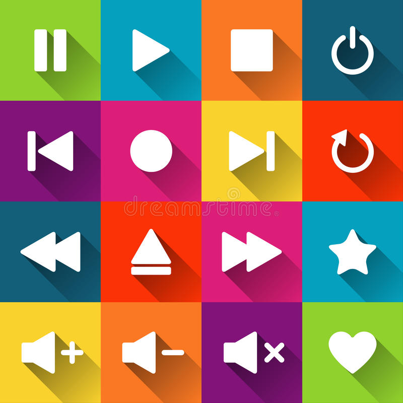 Simple media player icons on the colored tiles royalty free illustration