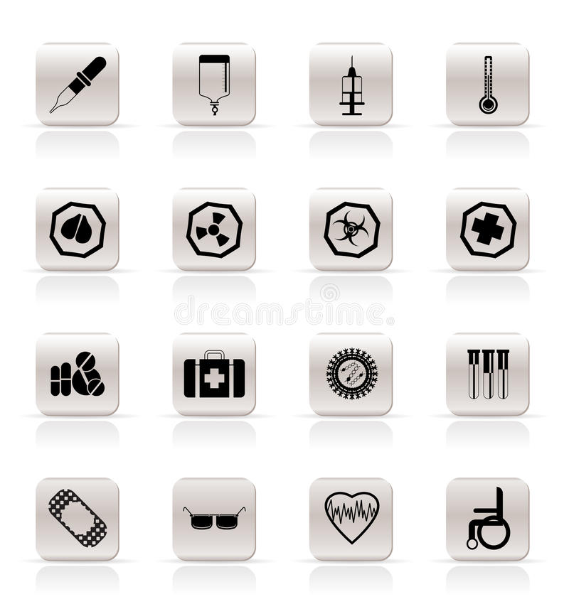 Simple medical themed icons and warning-signs vector illustration
