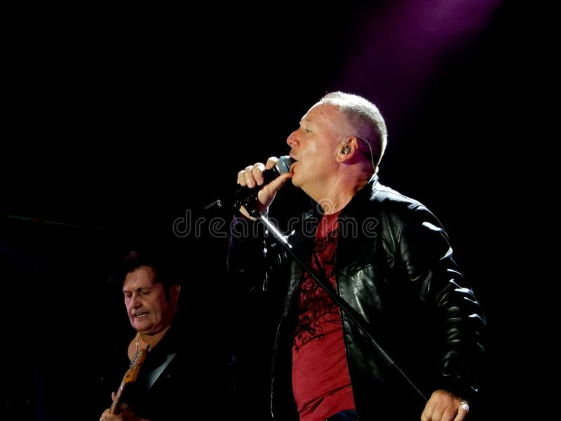 Simple Minds band live in concert with the leader and frontman Jum Kerr in Genoa Genova,. Italy, Europe royalty free stock photos