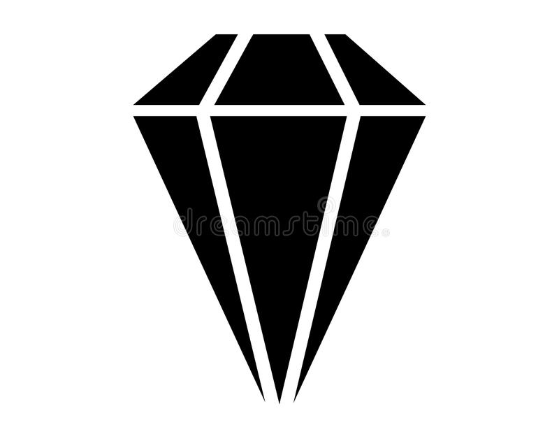 Simple minimal black diamond icon royalty free illustration
