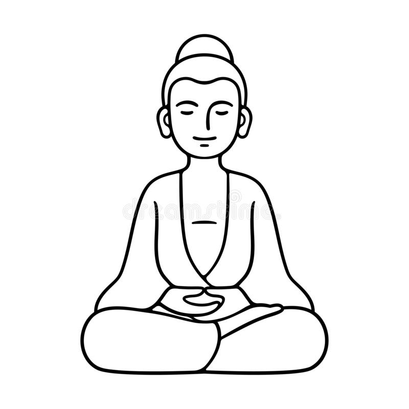 Simple sitting Buddha statue. Simple and minimal Buddha statue sitting in meditation, Zen Buddhist tradition. Black and white line art drawing, isolated vector royalty free illustration