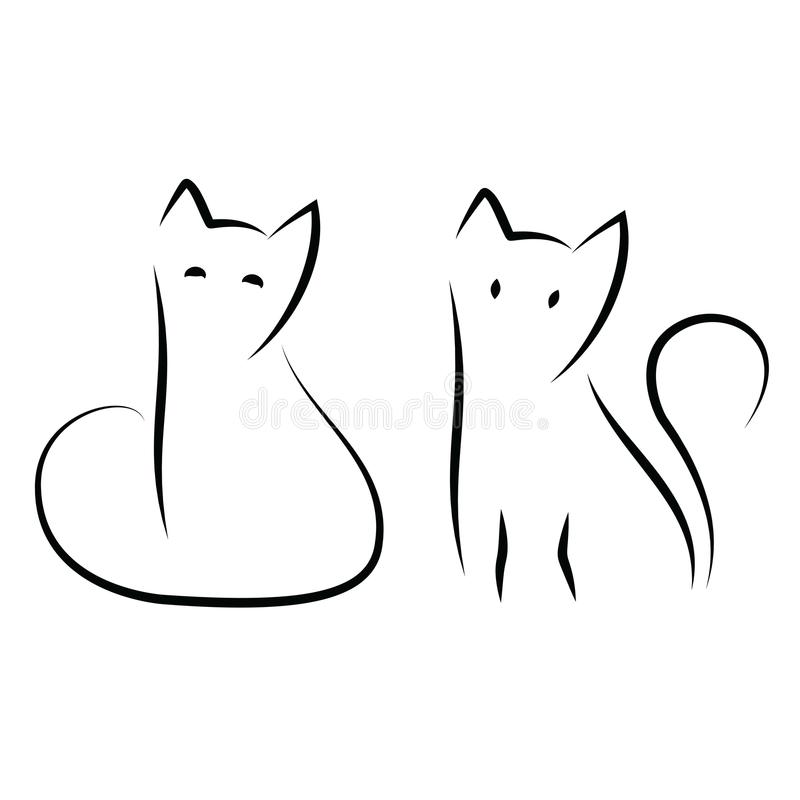 Simple and minimal cat ink drawing. Two sitting cats in traditional Japanese Zen art style. Cute vector illustration. royalty free stock image